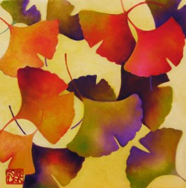 Gingko Leaves in Color oil on canvas 10x10 inches