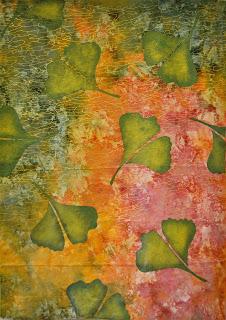 Ginkgo Leaves on Metallic Fabric copy