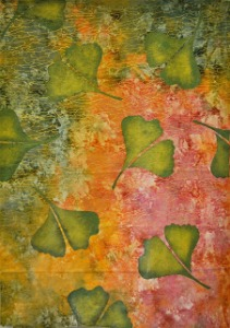 Ginkgo Leaves on Metallic Fabric copy